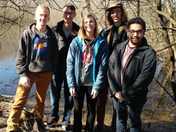 The Carmack Woods capstone team (l-r) ecological engineering majors Jake Radeff, Lucas Froelich, Monica Backs and Patrick Sanders and biological engineering major Gio Papio.